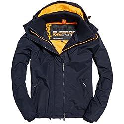 Superdry Tech Pop Zip Wndcheter NB, Chaqueta Deportiva para Hombre, BLU (French Navy/Fluro Orange), XL