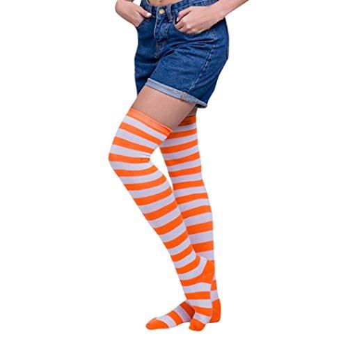 Oyedens 1 Paar Damen Overknee Strümpfe Lange Kniestrümpfe Retro Schüler Überknie Strick Socken Streifen Kniestrümpfe (Orange Weiß) (Dicke Streifen Socken)
