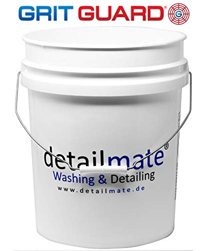 Gritguard Detailmate wash bucket, white, additionally reinforced, thick-walled, also suitable for lids (Gamma seal lid) (item number 20010101), 5 gallons=20 litres