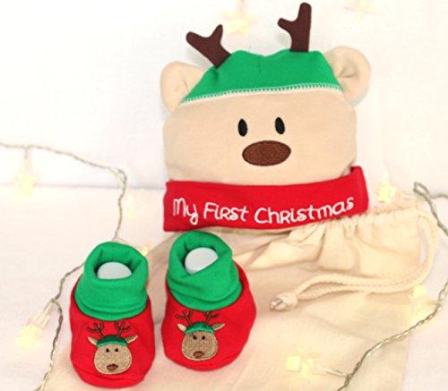 Baby's First Christmas, Renne Chapeau et chaussons, Ensemble de mignon cadeau pour naissance, bébé Ensemble cadeau de Noël pour bébé