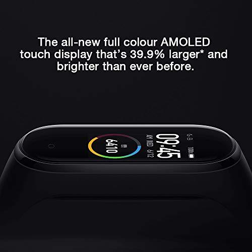 eiAmz Xiaomi Mi Band 4 Pulsera de Actividad, Monitores de Actividad, Pantalla Pulsómetro Fitness Tracker,  Pulsera Smartwatch con 0.95 Pantalla AMOLED a Color, con iOS y Android, Negro(Versión Global)