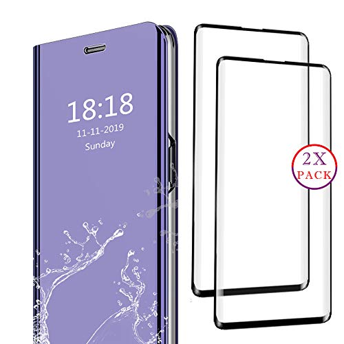 DAYNEW für Samsung Galaxy A8s Panzerglas und Hülle Combo Set,Ultra-klar 9H Schutzfolie,ultradünnen Spiegel Flip Case Cover,Darunter 1 Lila Schutzhülle und 3 Schwarze Panzerglasfolie.
