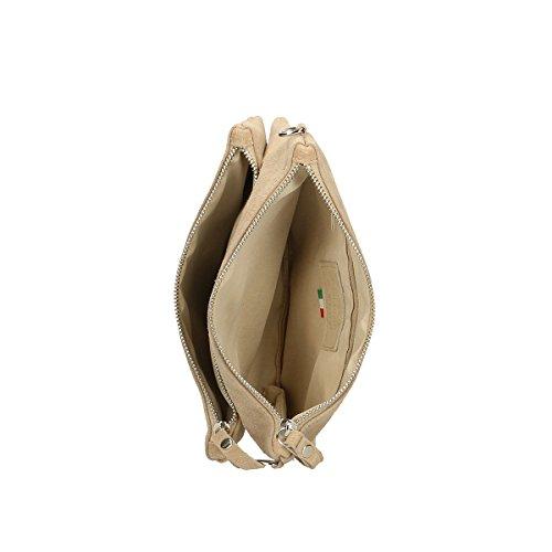 Chicca Borse echtes Leder Schultertasche 24 x 17 x 4 Cm Schlamm