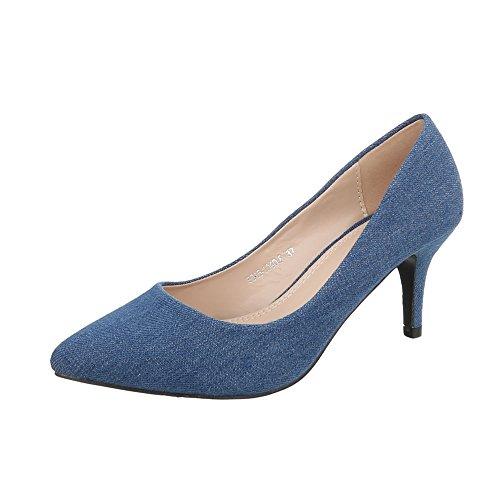 Ital-Design Klassische Pumps Damenschuhe Klassische Pumps Pfennig-/Stilettoabsatz High Heels Pumps Blau 5015-104DF