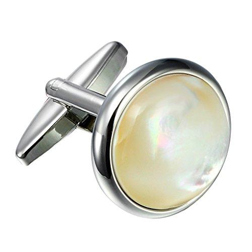 Einzigartiger 316L Edelstahl Herren runde Manschettenknöpfe mit echten Muscheln (Silber)