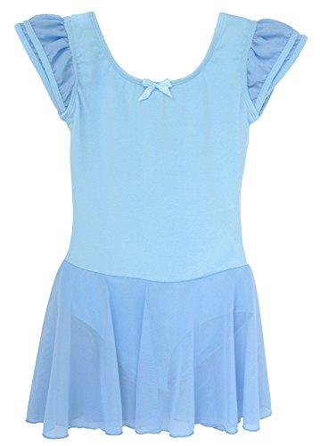 Dancina Mädchen Kurzarm Ballettkleid aus Baumwolle mit Flügelärmeln 92/98 (Kostüm Frozen Ballett)