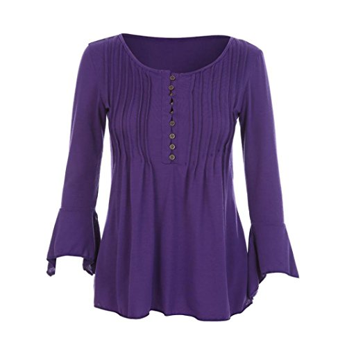 MRULIC Geschenk Zum MuttertagWomen Autumn Flare 3/4 Sleeve Slim V Neck Buttons Blouse Tops Tee Shirt(Lila,EU-48/CN-4XL)