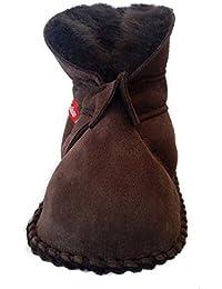Plateau Tibet - Bottines chaussons pour bébé avec doublure en VERITABLE laine d'agneau - HuggB - Brun foncé