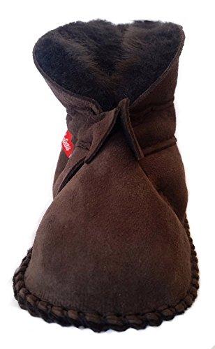 Plateau Tibet - Chaussons Chaussures bébé en cuir souple avec doublure en VERITABLE laine d'agneau bottines garçon fille enfant - HuggB - Brun foncé