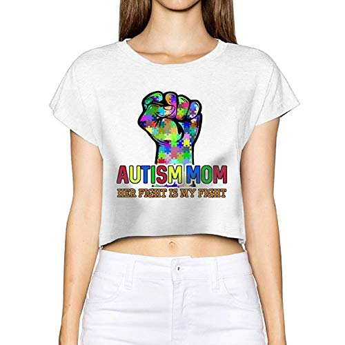 Women's Sexy Revealed T-Shirt Autism Puzzle Mum Short-Sleeve Blouse Tops Tee Navel(Medium,White)