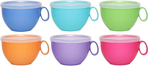 idea-station NEO Kunststoff-Tassen mehrweg, 500 ml, 6 Stück, bunt, farbig, mit Henkel, Griff, Deckel, XXL-Tassen, Kaffee-Tassen, Kaffe-Becher, Tee-Tassen, Cappuccino-Tassen, bruchsicher unzerbrechlich