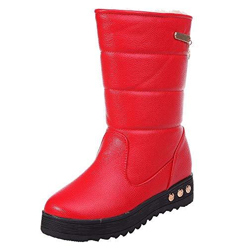 Damen Frauen Schnee Stiefel Winter warme Stiefel in der Verdickung wasserdicht rutschfeste Leder plus Samt Damen Stiefel Schnee Stiefel flach mit dicken Stiefeln rutschfeste Mode lässig Stiefel - Warme Stiefel Schnee