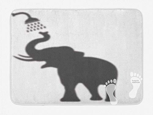 Yang Badteppich (75 x 45 cm) Elefanten-Badevorleger, Elefant beim Duschen in der Badewanne Baden in der Badewanne, lustiger Kunstdruck, Humor Design