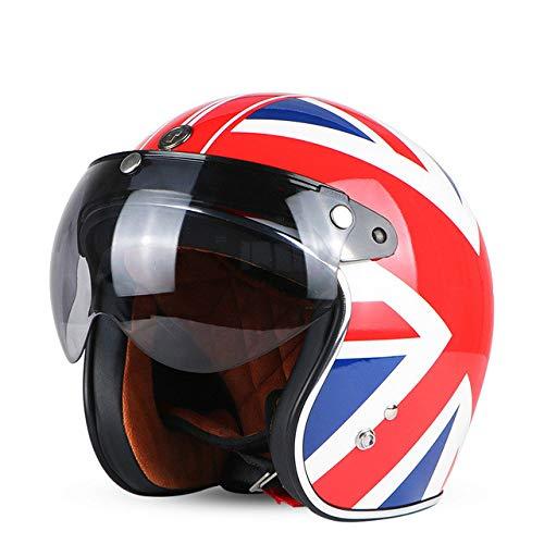 Berrd Casco moto Retro aperto Motocross Motocross Jet Casco retrò Casco moto Union W visiera L