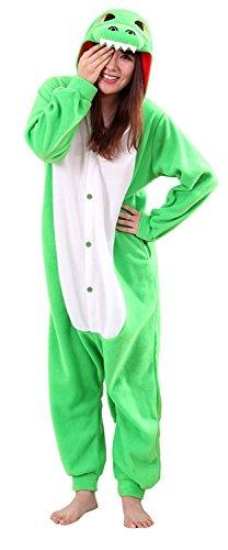 URVIP Jumpsuit Tier Cartoon Fasching Halloween Kostüm Sleepsuit Cosplay Fleece-Overall Pyjama Erwachsene Unisex Schlafanzug Tier Onesie mit Kapuze Grün Drache Large