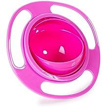 Bebé Alimentación Bol de platos, Gyro 360giratorio para evitar la comida rebose Funny Creative cuenco platos para bebé Niños