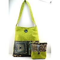 Borsa a spalla in canapone color verde chiaro e batik fantasia floreale - etnico, beauty abbinato
