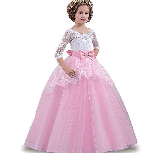 04b0fc66f2f7 LZH Ragazze Vestono Bianchi da Comunione della Festa Nuziale Principessa  del Pizzo Elegante Cerimonia Pageant Costume