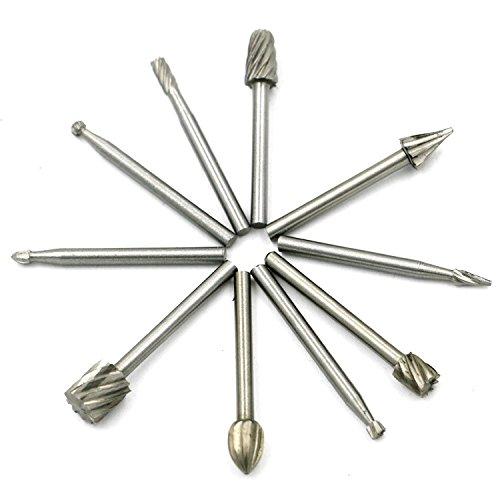 Preisvergleich Produktbild ECLEAR 10Pcs Diamant-Grat Bohrer-Kit Schaftfräser Schaft Fräser Werkzeuge Set für Gravur Drehwerkzeug Schnitzen Holzbearbeitung