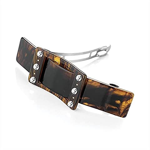 9cm Brown Tortoise Shell Effect Acrylic Buckle Style Hair Barrette Clip Grip