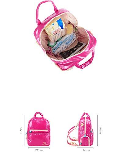 Yvonnelee Multifunktionelle Hochwertige Mama Henkeltasche Handtasche Umhängetasche Schultertasche Wickeltasche Baby Windel Tasche Mummy Bag für Babypflege Nylon Wasserabweisend Leicht Viele Fächer Rosa