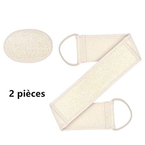 HJ Stay Real Luffaschwamm Rückenscrubber für Bad und Dusche, Luffa Pad und Rücken Gurt, Einhundert Prozent Luffa Natur Schwamm, für Körper und Gesichts Peeling, Durchblutung