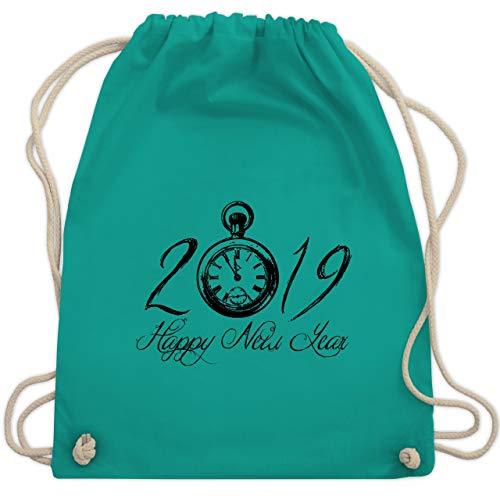 Weihnachten & Silvester - Happy New Year 2019 Uhr Vintage - Unisize - Türkis - WM110 - Turnbeutel & Gym Bag