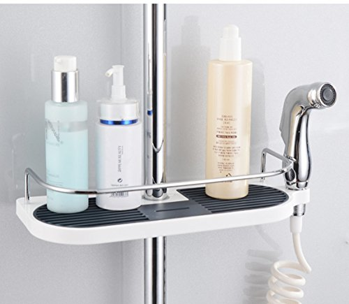 Upgrade ABS Dusche Caddy Organizer Regal, HomeYoo Bad Tablett Rack für Duschkopf Seife Shampoo Conditioner, keine Bohren Bad Lagerung Inhaber-Anzug 19 ~ 25mm Schiene(Rostfreier Stahl+ABS)