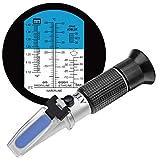 Réfractomètre HHTEC 4 en 1 antigel avec éthylène glycol, propylène glycol, pour congélation de l'eau de refroidissement, lave-vitre, AdBlue, batterie, avec manuel d'utilisation en allemand