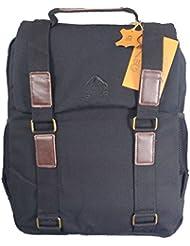 Toile et cuir sac à dos noir hommes sac d'ordinateur portable sac à dos. Canvas Rucksack.