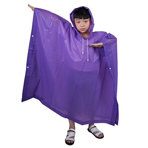 iBaste Raincoat for Kids, Children Emergency Rain Poncho, Reusable Waterproof Portable Raincoat, Rain Resistant Poncho with Hoods and Sleeves for Travel, Festivals,Theme Parks and Outdoors