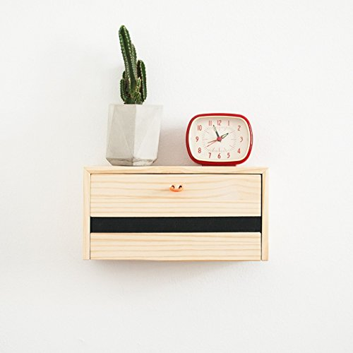 Estante minimal mesita con cajón de pared en madera natural