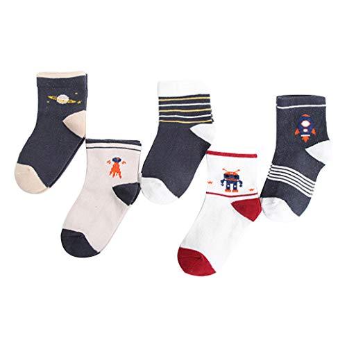 Caerling Kinder Socken Schön Streifen und Tier Drucken Baumwolle Babysocken für Mädchen und Jungen mit rutschhemmender Sohle Bodensocken Kindersocken