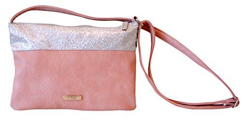 Borsa Donna, Pikla Flat Sachet Bag (Bustina piatta) in morbido e fascia in Lurex, con angoli tagliati. Tracolla regolabile. Fodera interna. Made in Italy. Rosa
