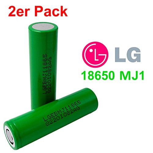 2X LG INR18650-MJ1 Akku 3500mAh 3,7v Lithium-Ionen 18650 Batterie - Ideal für Sub-Ohm Dampfer E-Zigarette Flat Top Flachpol, Menge: 2 Stück