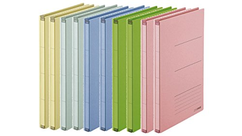 PLUS Japan, Zero Max Platzsparordner farbig sortiert, 10er Pack (1 x 10 Ordner)