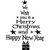 3 Pièces Stickers Arbre de Noël Lettres Décalques Amovible Stickers Muraux PVC Décoration de Fenêtre Murale pour Fournitures de Décoration de Noël (Noir)