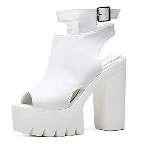 Women's Fashion Ankle Wrap Buckle Thick High Heels Casual Outdoor Sandals white / US 4.5