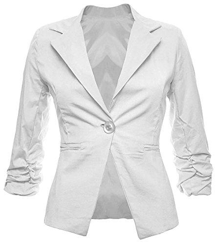 Eleganter Damenblazer Blazer Baumwolle Jäckchen Business Freizeit Party Jacke in 26 Farben 34 36 38 40 42, Farbe:Weiss;Größe:XL-42