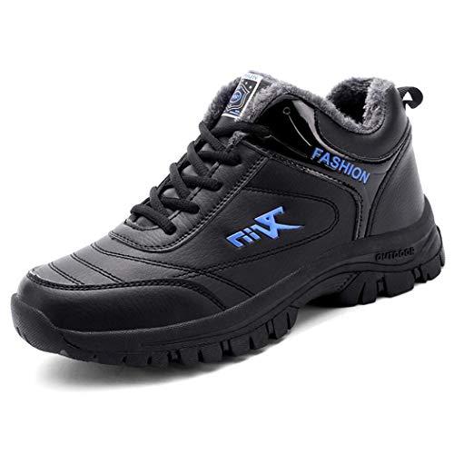 RYRYRB Wintersportschuhe Herren Plus samt warme Baumwolle Schuhe Casual Laufschuhe tragen stoßfeste Herren Laufschuhe ältere Schuhe Einfache und Bequeme Freizeitschuhe (Color : Blue, Size : 43 EU)