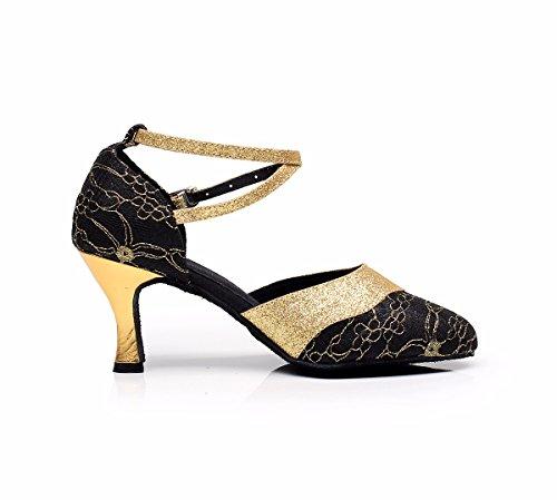 Jingxinstoredonna Chaussures De Danse Salsa Latino Sandales En Satin À Talons Professional Indoor Black