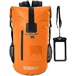 Ultra Dry Adventurer Sac à dos étanche avec pochette étanche pour téléphone-Idéal pour bateau, kayak, pêche, rafting, natation, camping et snowboard, Orange, 35 L