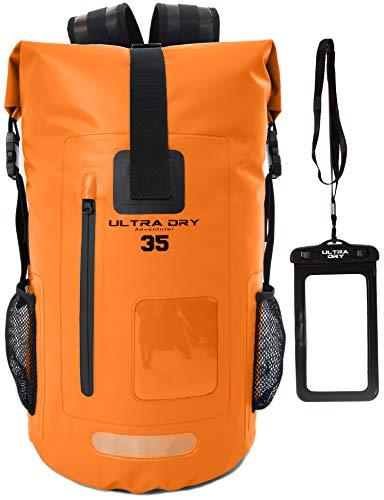 Premium-Rucksack, mit Telefon-Trockenbeutel, wasserdicht, perfekt für Boot-/Kajak-/Kanufahren, Angeln, Rafting, Schwimmen, Camping, Snowboarden., Orange, 35 L