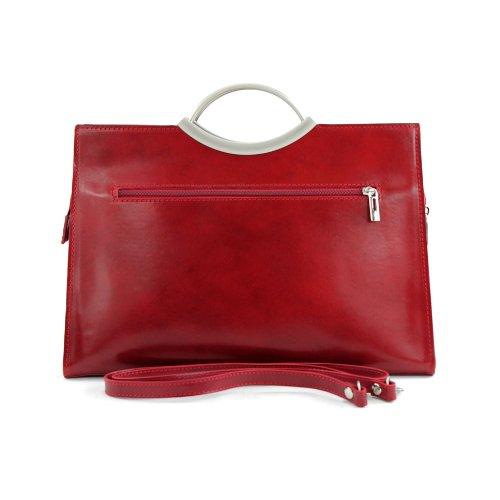 modamoda de - ital. Ledertasche Handtasche Damentasche Business Elegant Tragetasche X03 235 Rot