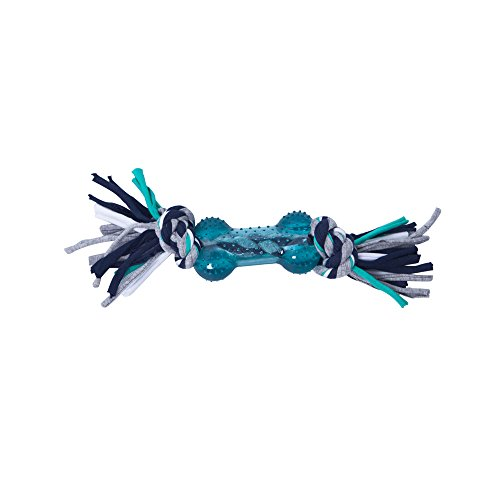 Pro-Goleem-Dark-Green-Durable-Textured-Rubber-Bone-Chew-Toy-for-Dog-with-Colourfor-Braided-Cotton-Knot