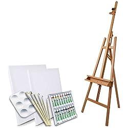 Artina - Set de Pintura de 28 pzas. - Caballete de Pintura de Estudio Haya Barcelona, Acuarelas, lienzos, Pinceles y Paleta