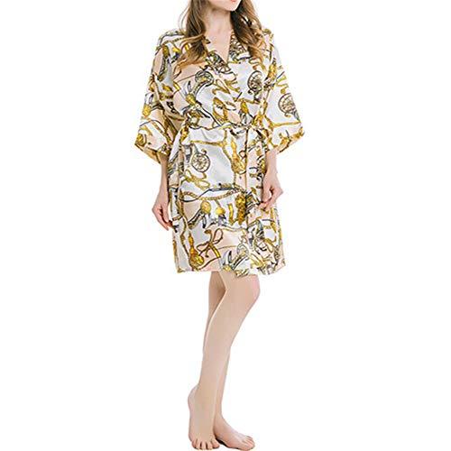 Mujer Vestido Kimono Bata Satén Estampado Flores Ropa de Dormir 3/6 Manga...