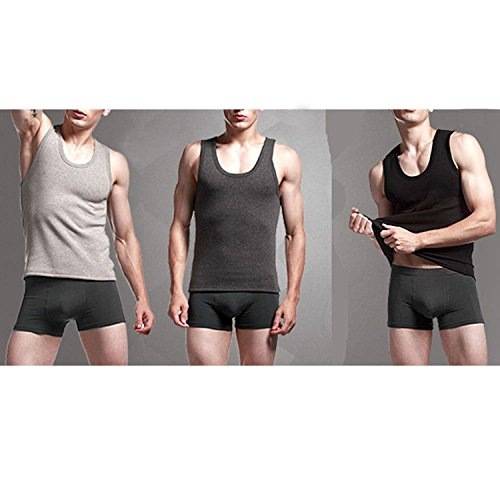 Linyuan Men's Warm Soft Vest Tank Top Thick With Velvet Autumn Winter Section Dark Gray