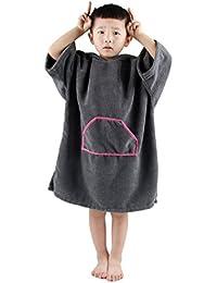 Winthome Toalla Poncho para niños Changing Robe Toalla con Capucha con Bolsillo Ideal para navegar y