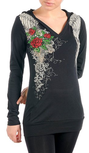 black rose ink tattoo Hoodie Sweater Langarmshirt bling bling Strass clubwear Gr XS / 34 (Sweatshirt Hoodie Bling)